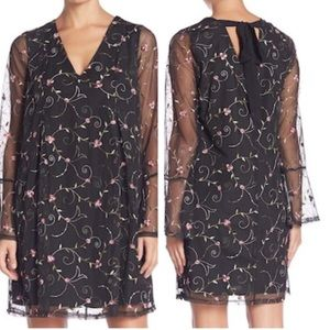 NWT BCBGeneration Black Sheer rose overlay Dress